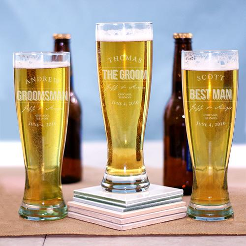 Personalized Engraved Groomsmen Pilsner Glass