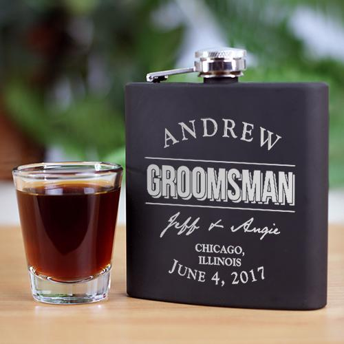 Personalized Engraved Groomsmen Steel Flask