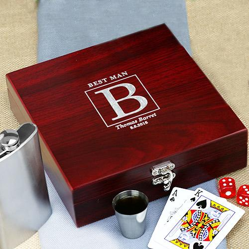 Personalized Rosewood  Poker Flask Set