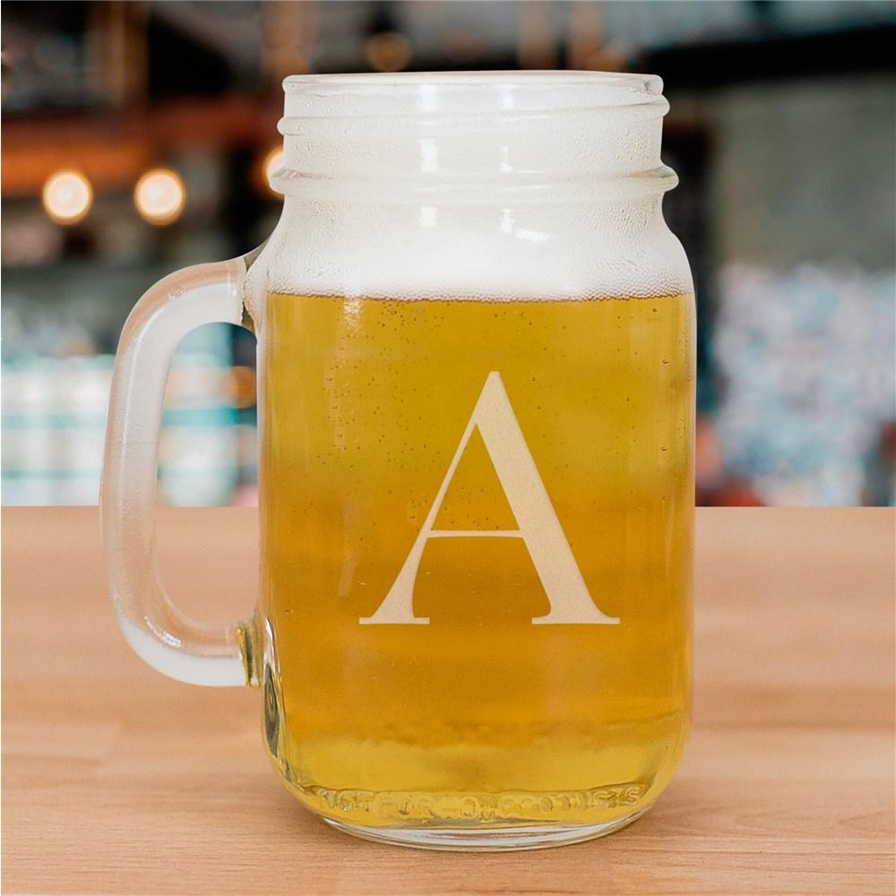 Personalized One Initial Mason Glass Jar