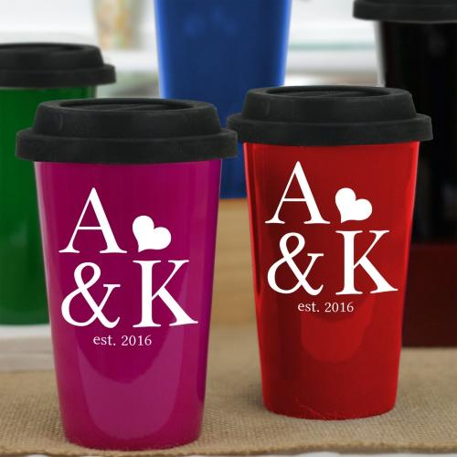 Personalized Engraved Couples Established Latte Mug
