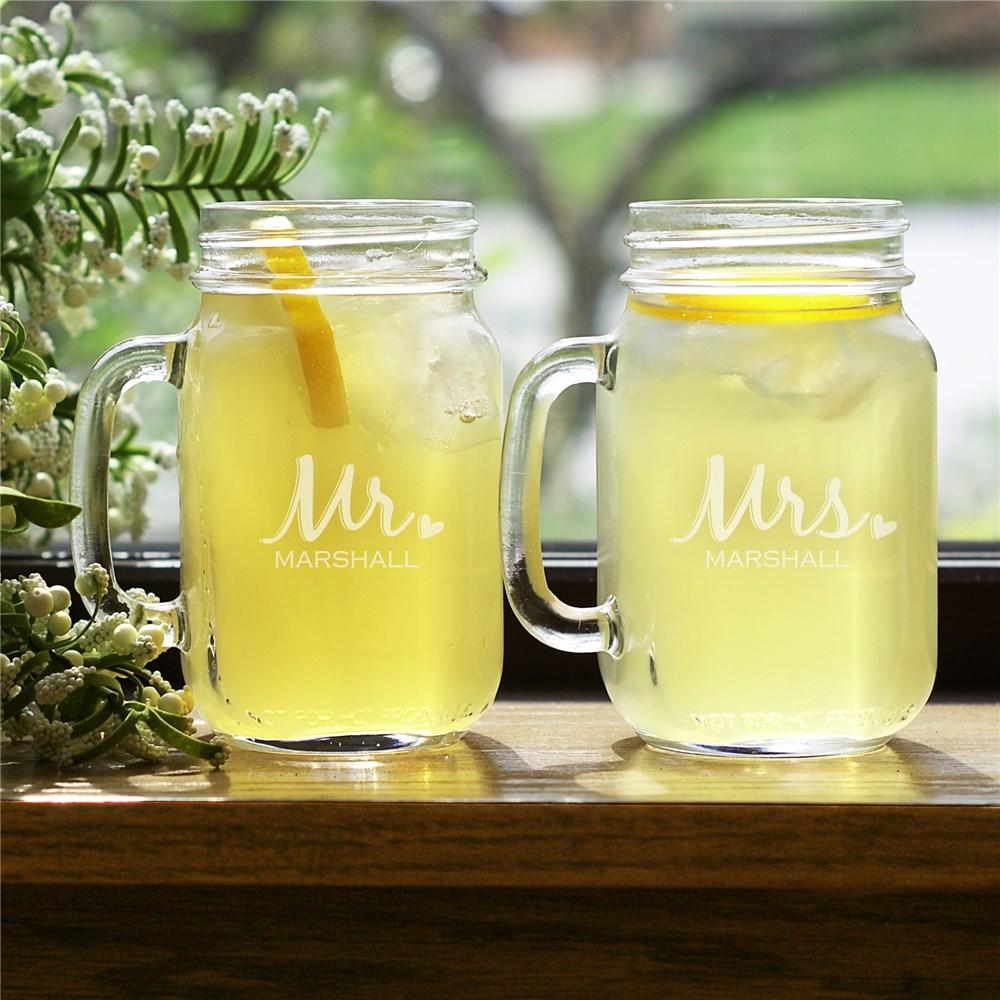 Personalized Mr And Mrs. Mason Jar Set