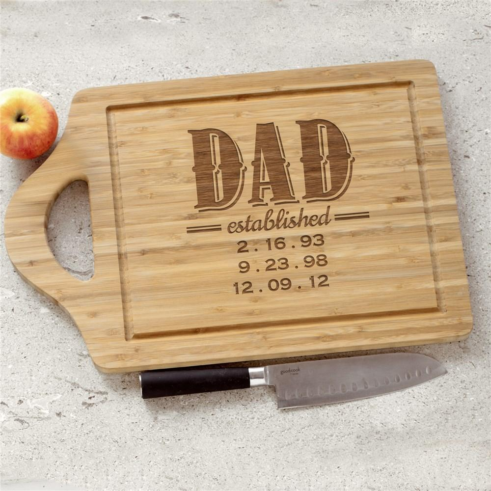 Personalized Established Dad Cutting Board With Handle