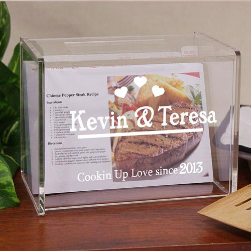 Personalized Engraved Cookin Up Love Acrylic Recipe Box - Valentine's Day Gift