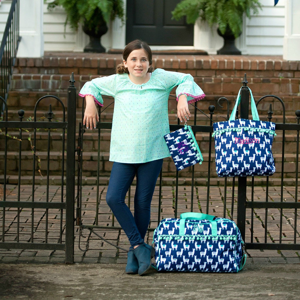 Llama Girls Travel Gift Set - Monogrammed Travel Bag, Tote Bag & Pouch