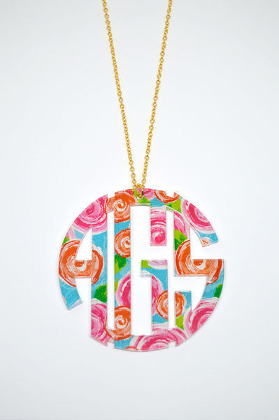 Personalized Extra Large Pendant Monogram Necklace - Gifts Happen Here - 1