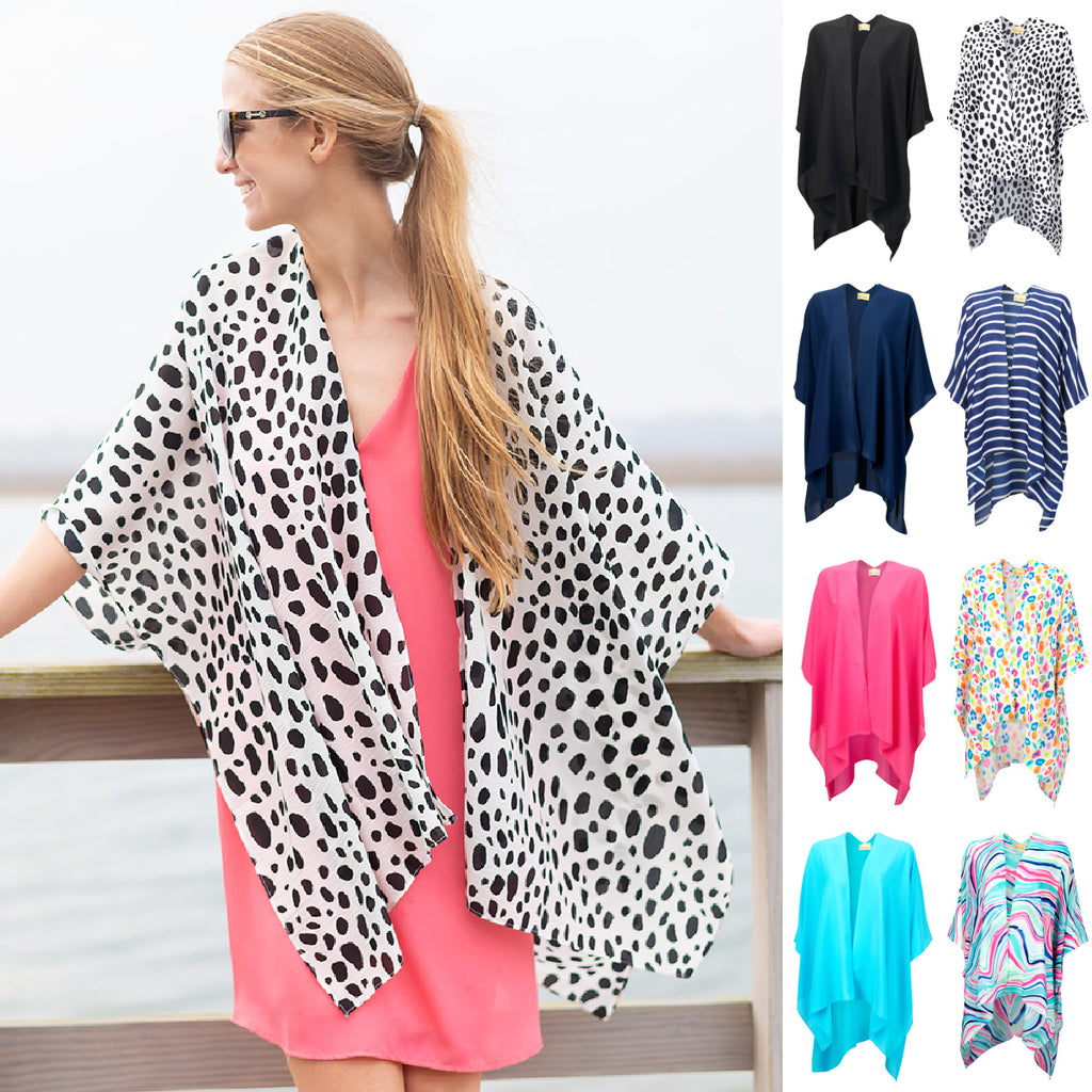 Womens Beach Cover Up Shirt - Leopard Prints & Solid Colors