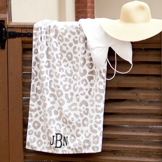 Personalized Beach Towel - Natural Leopard