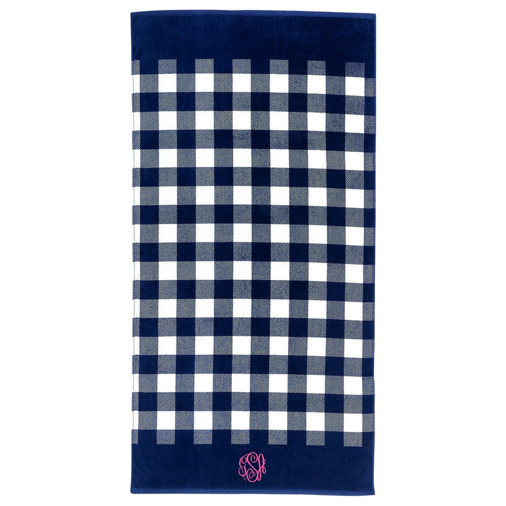 Personalized Beach Towel - Navy Checkered