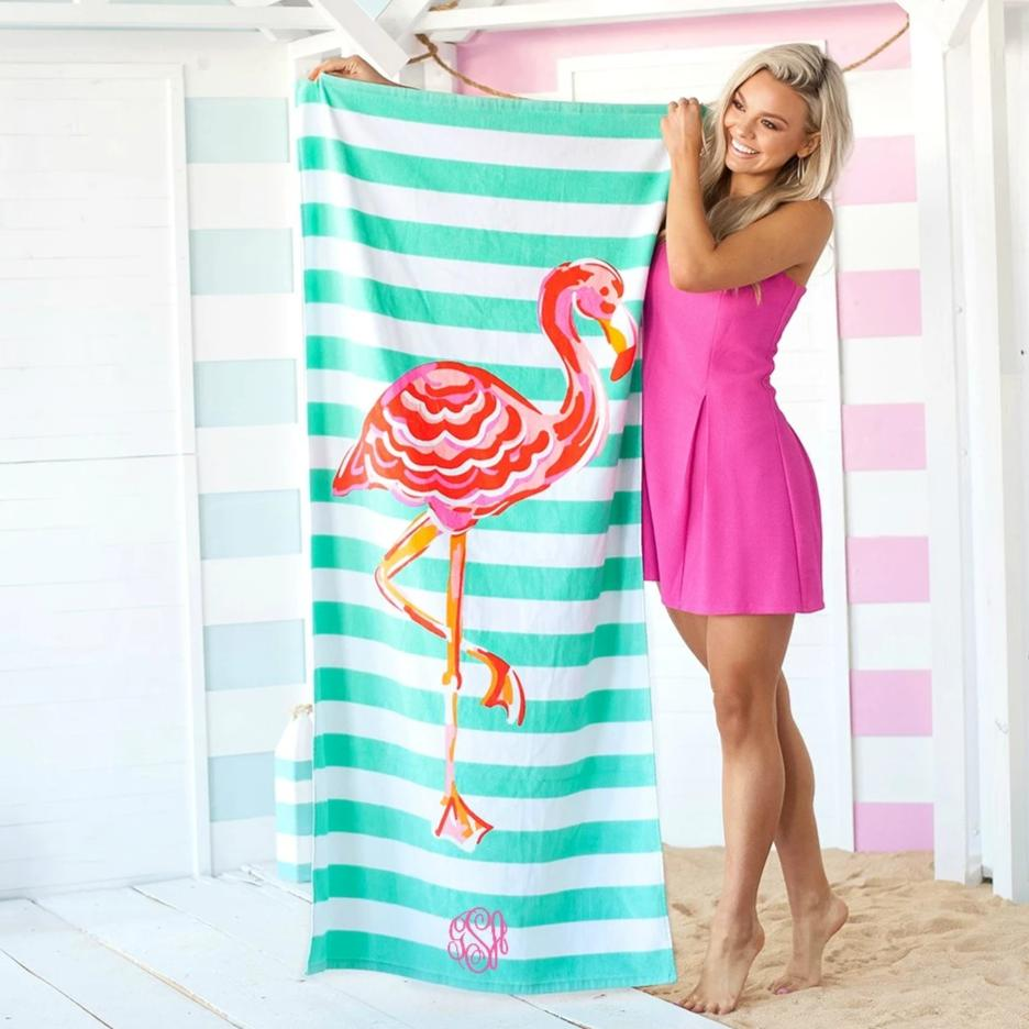 Personalized Beach Towel - Flamingo Stripe