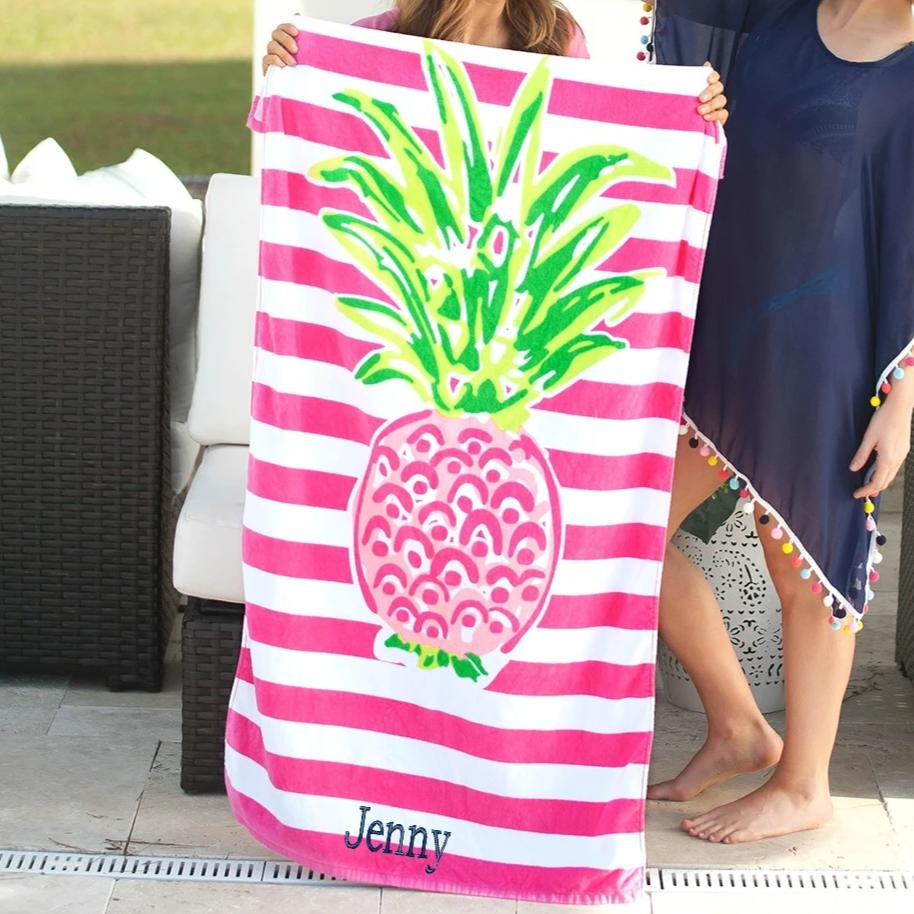 Personalized Beach Towel - Pineapple Stripe
