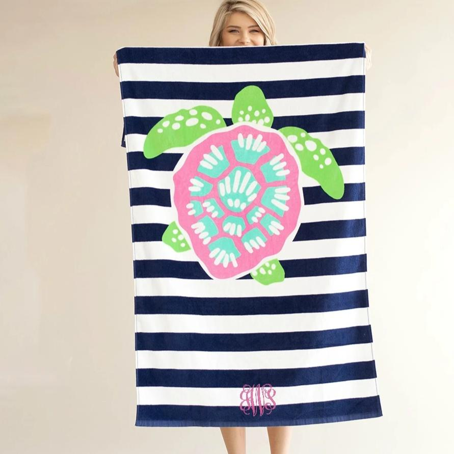 Personalized Beach Towel - Sea Turtle Stripe