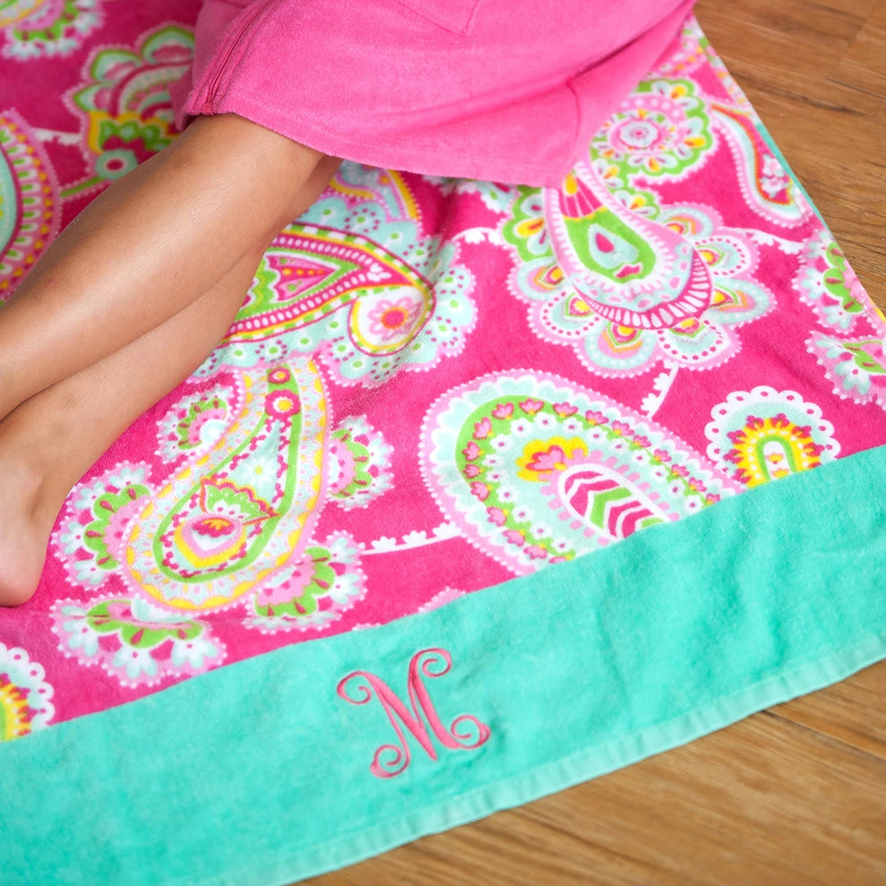 Personalized Beach Towel - Paisley Pink & Mint