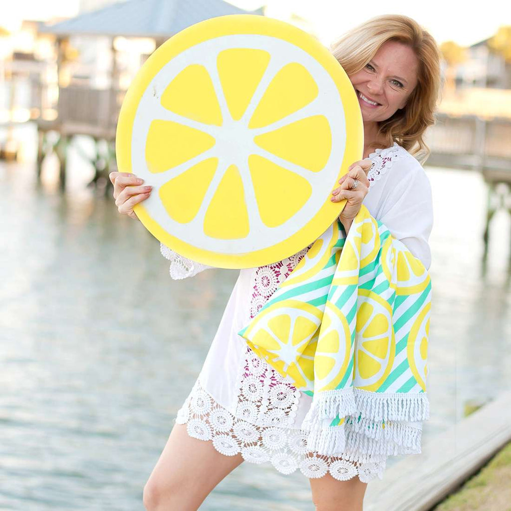 Personalized Oversized Sun Blanket Towel - Lemon Squeeze