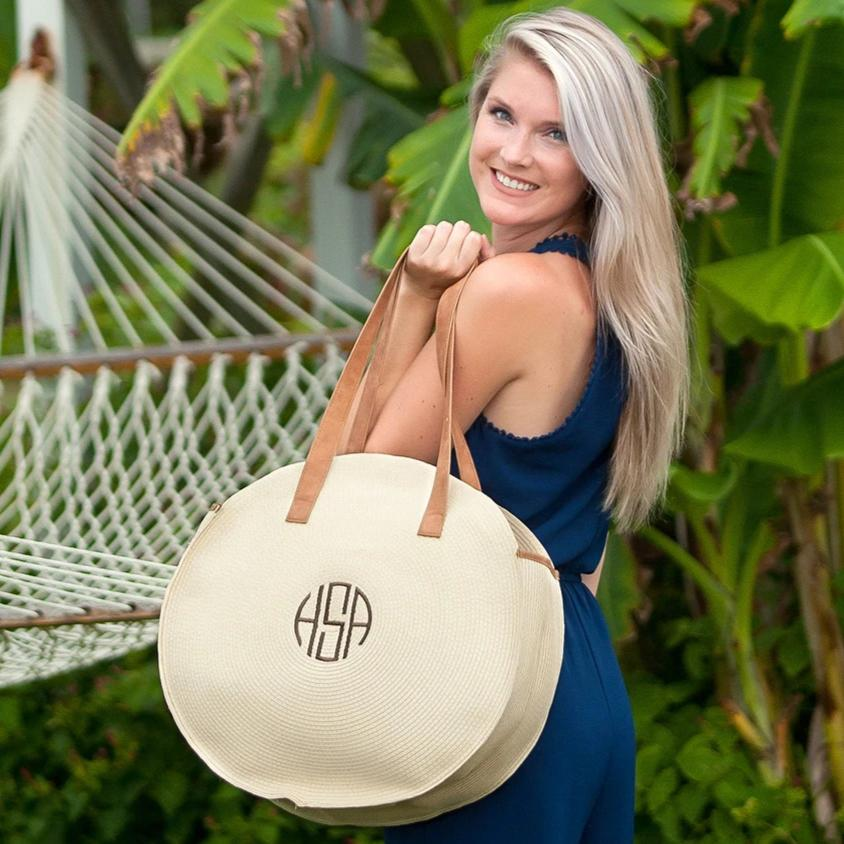 Monogrammed Natural Bungalow Tote