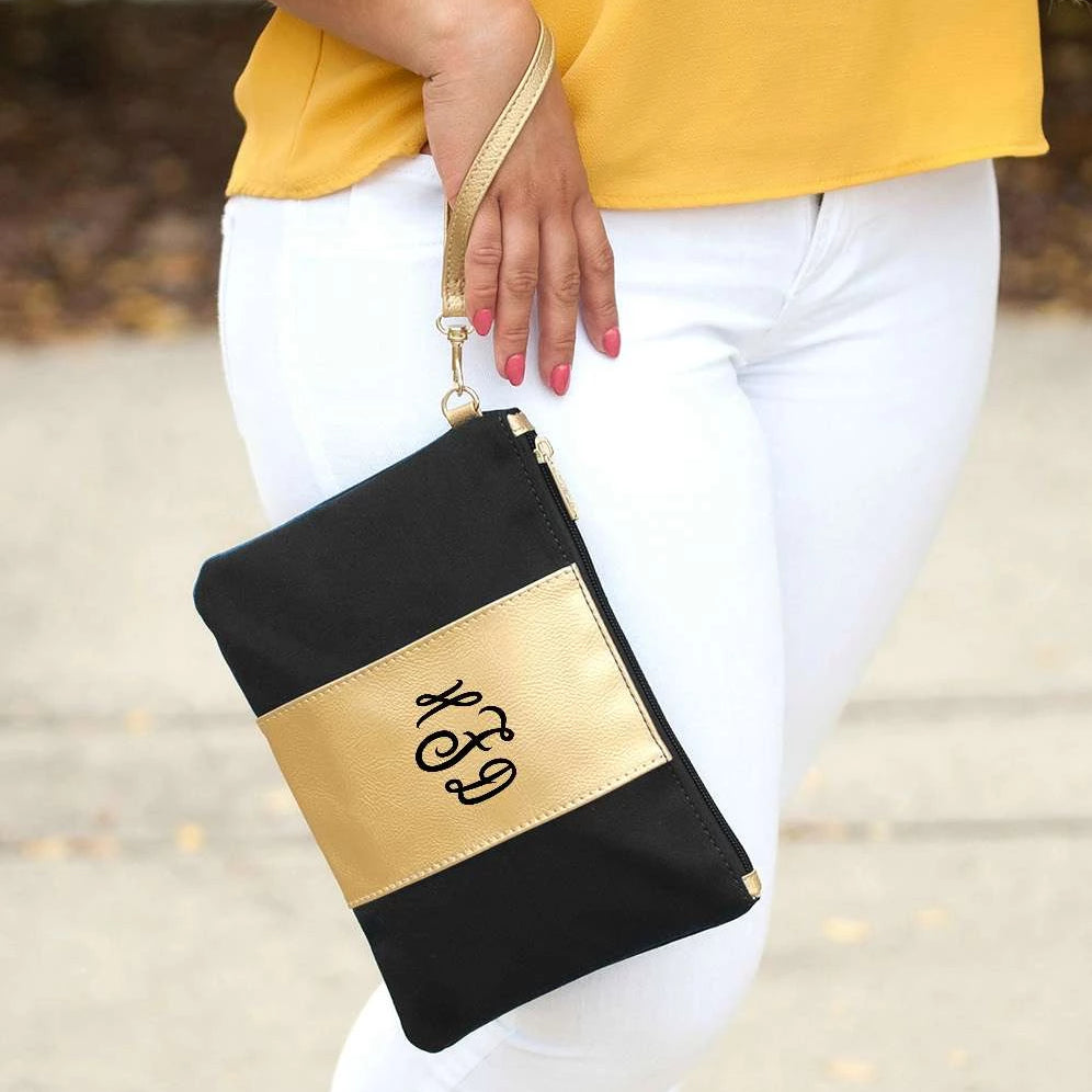 Personalized Metallic Gold Wristlet - Black