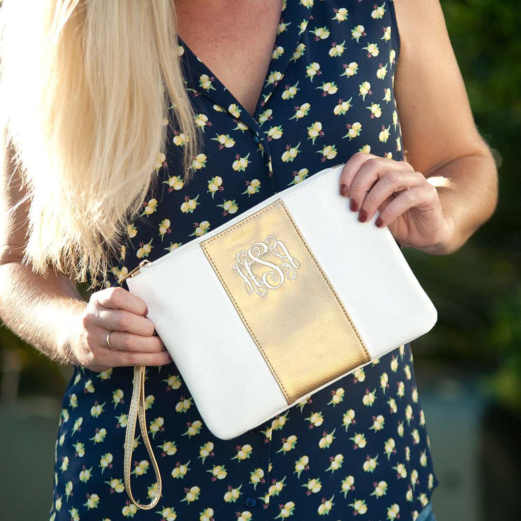 Personalized Metallic Gold Wristlet - Cream