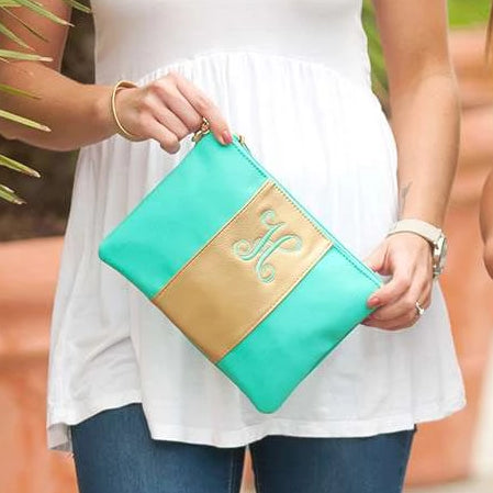 Personalized Metallic Gold Wristlet - Mint