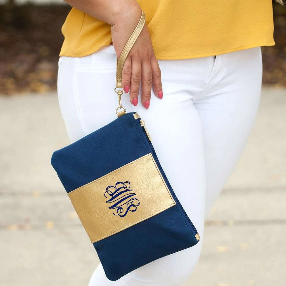 Personalized Metallic Gold Wristlet - Navy