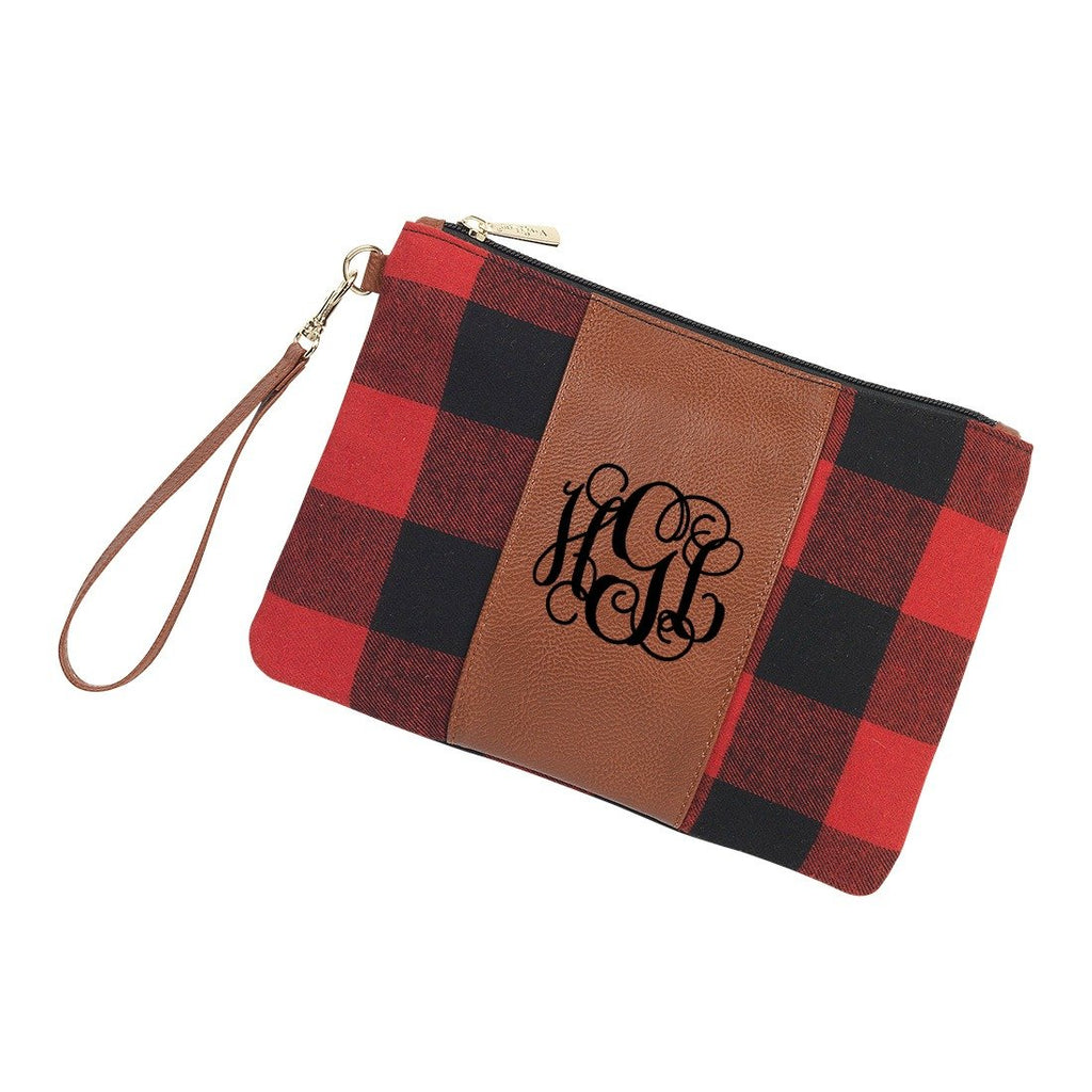Personalized Clutch Wristlet - Red Buffalo Check Plaid