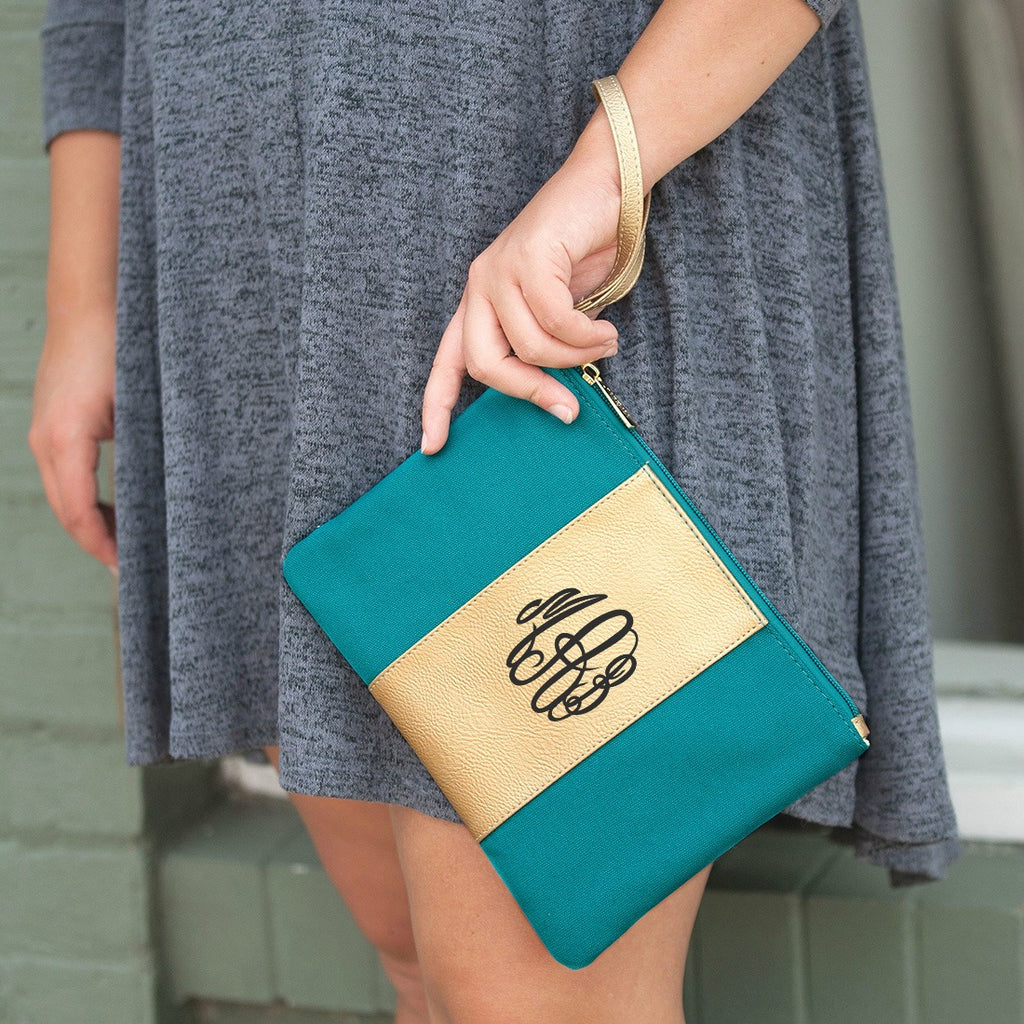 Personalized Metallic Gold Wristlet - Teal