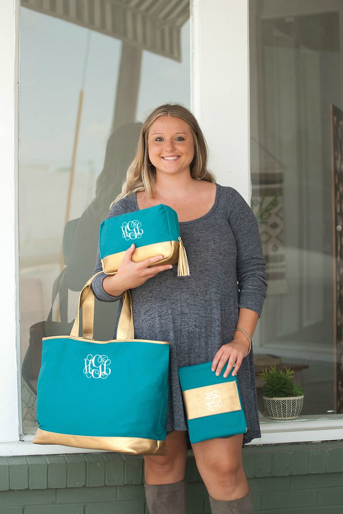 Monogrammed Matching Tote Bag & Zipper Pouch - Gold Vegan Leather Trim