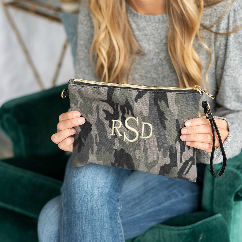 Personalized Black Camo Crossbody Purse