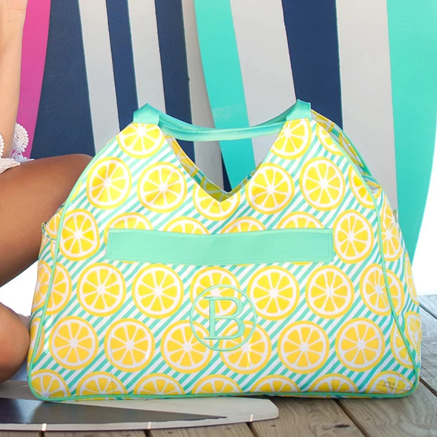 Personalized Large Beach Bag - Oversized Pool Tote - Lemon Squeeze