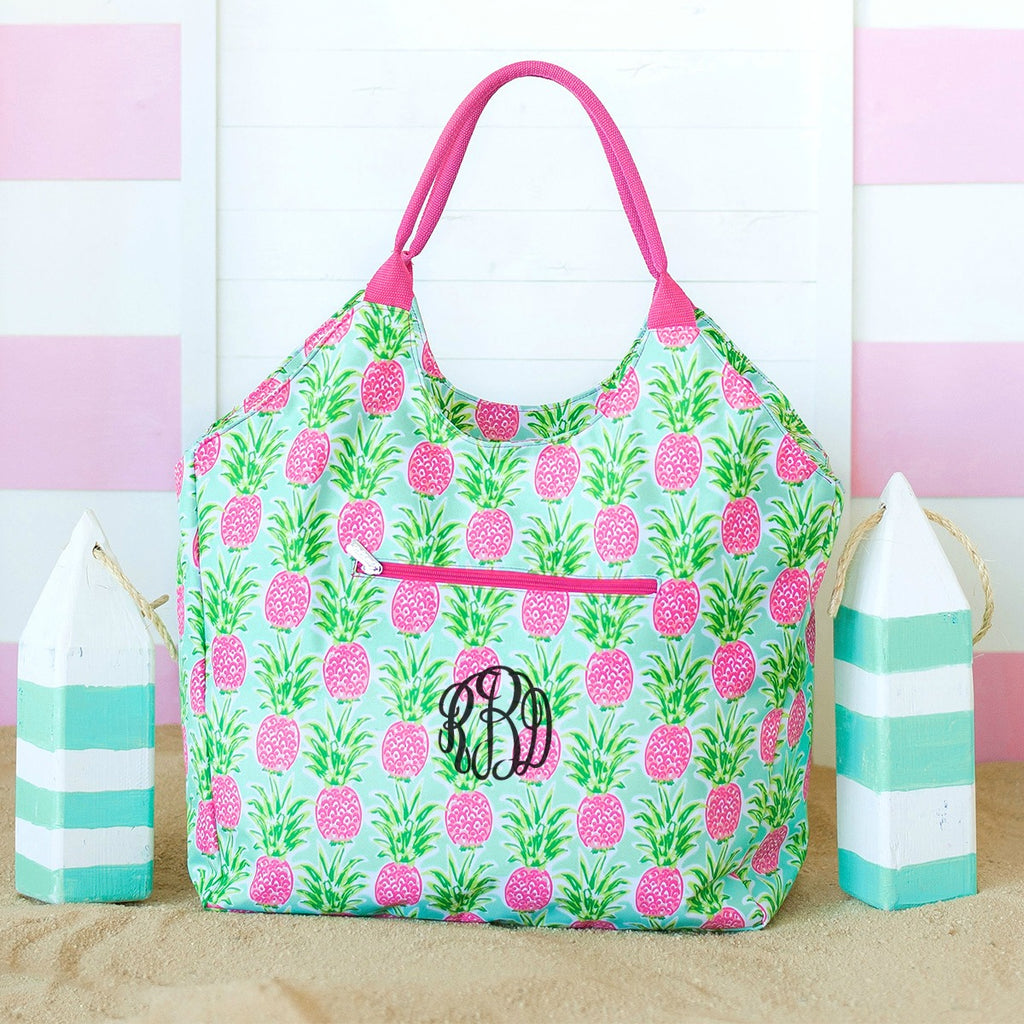 Personalized Large Beach Bag - Oversized Pool Tote - Pineapple