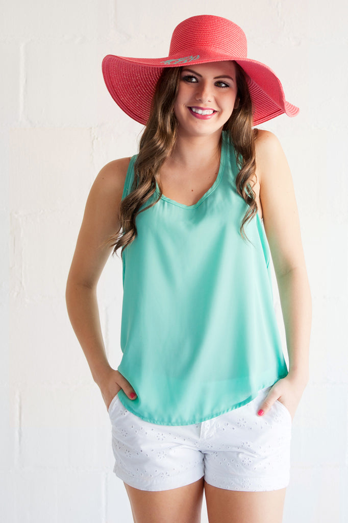 Monogrammed Floppy Hat for Women - Sun Hat - Coral