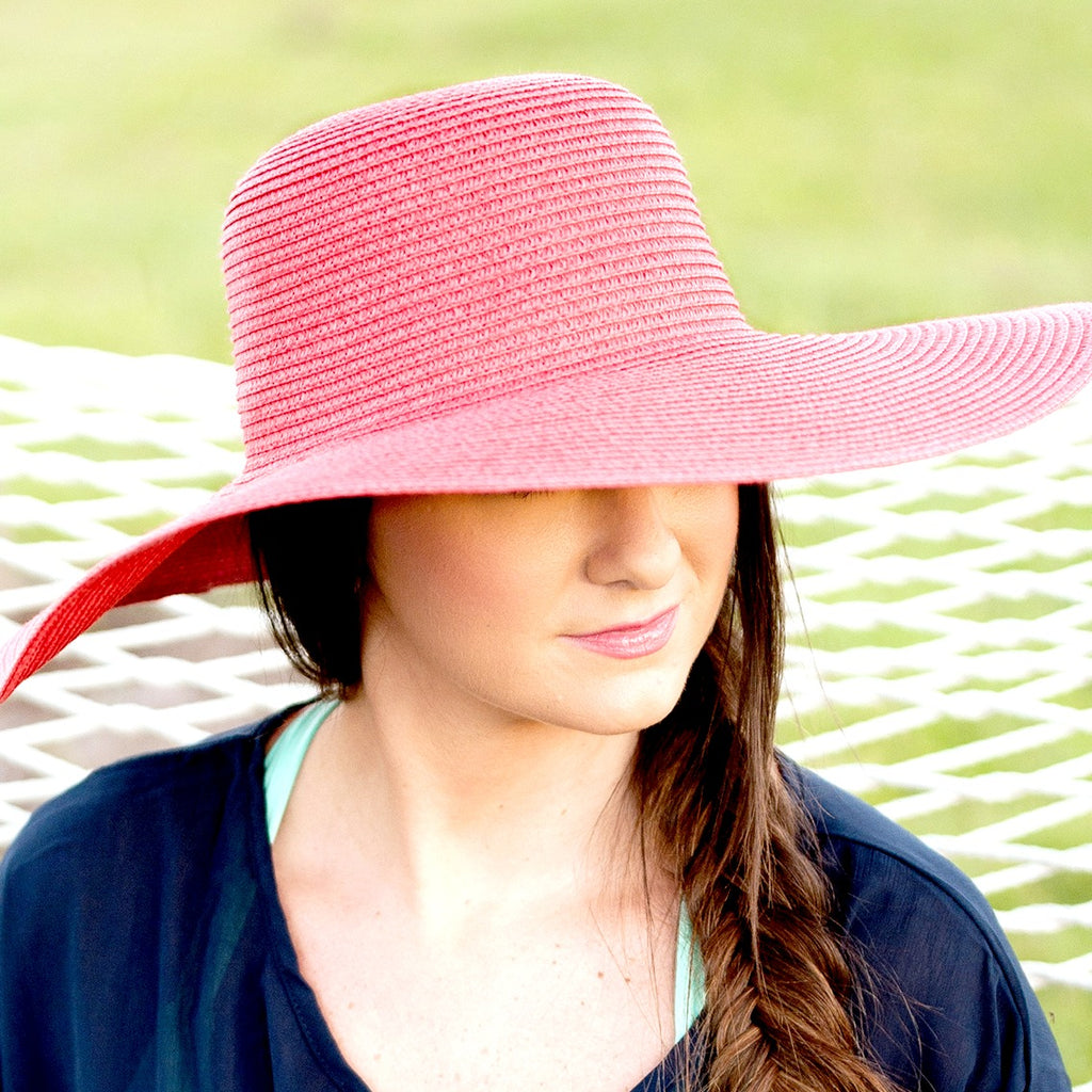 Monogrammed Floppy Hat for Women - Sun Hat - Hot Pink