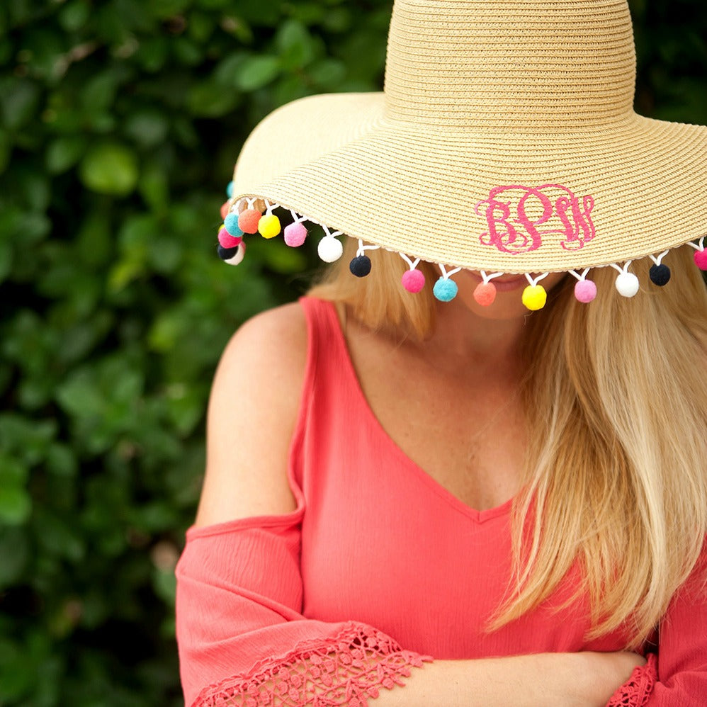 Monogrammed Floppy Hat for Women - Sun Hat - Pom-Pom