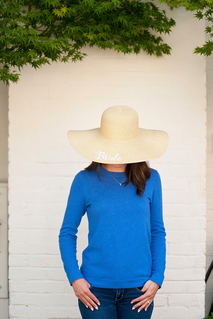 Monogrammed Floppy Hat for Women - Sun Hat - Natural