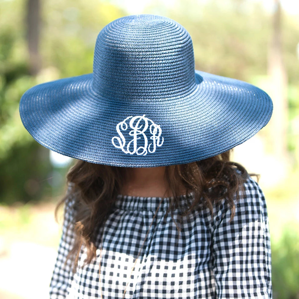 Monogrammed Floppy Hat for Women - Sun Hat - Navy Blue