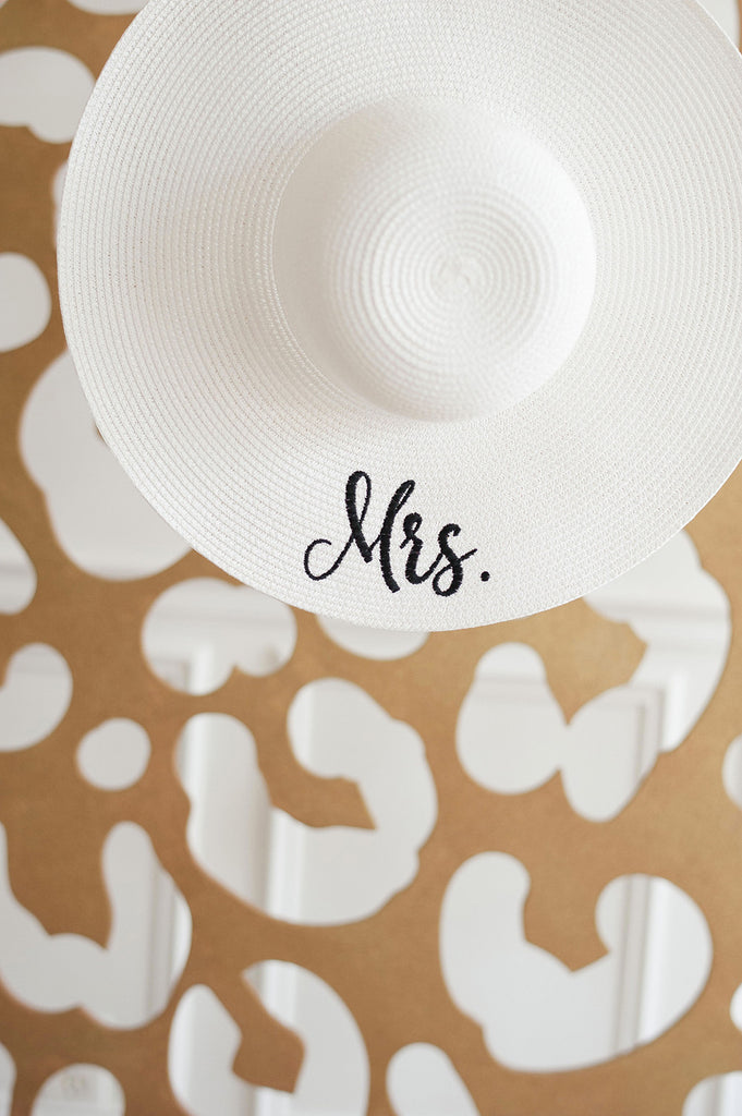 Monogrammed Floppy Hat for Women - Sun Hat - White