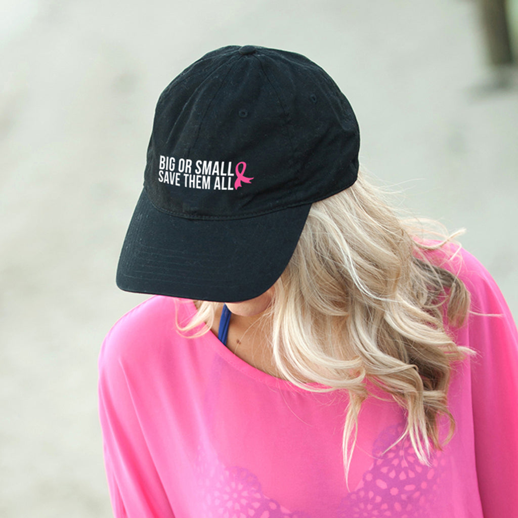 Big or Small, Save them All Black Cap - Breast Cancer Awareness - Pink Ribbon