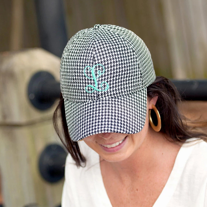 Personalized Baseball Hat Cap - Houndstooth