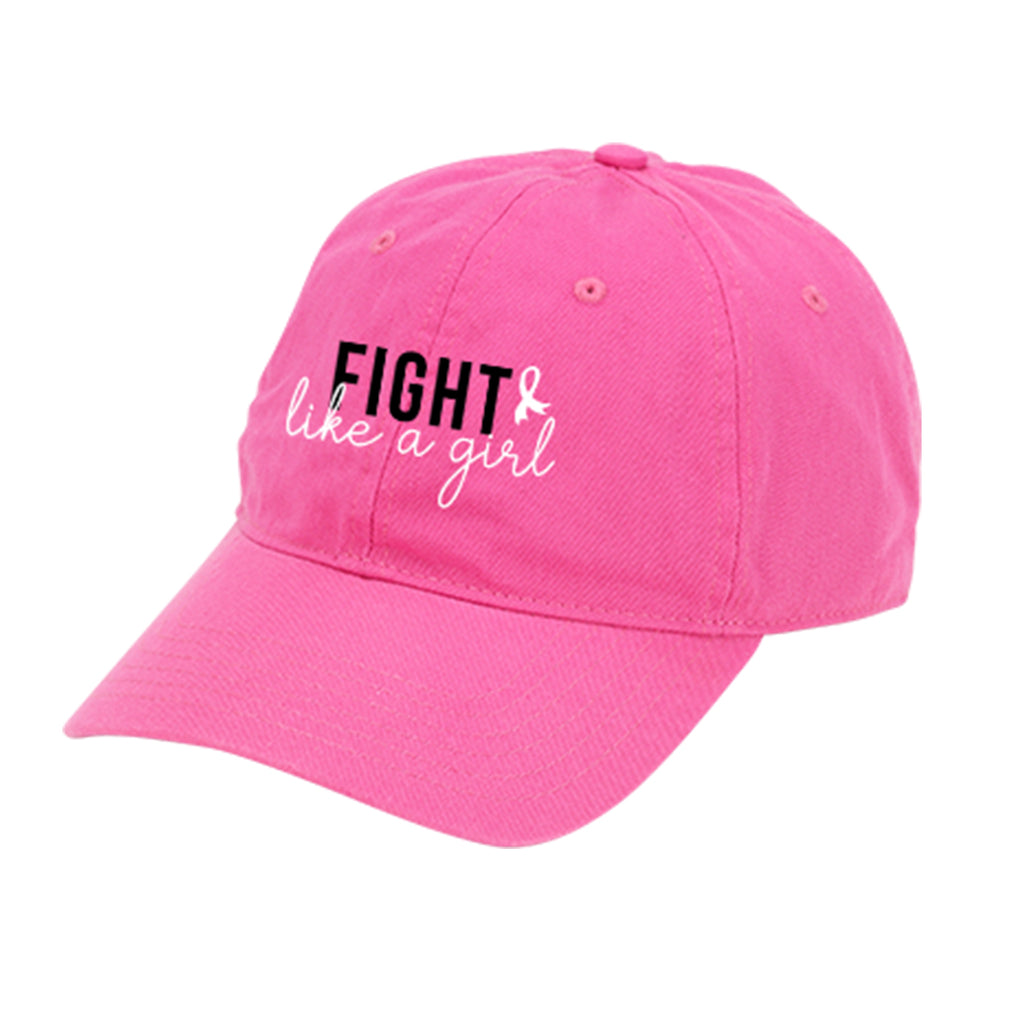 Fight like a Girl Hot Pink Cap - Breast Cancer Awareness - Pink Ribbon