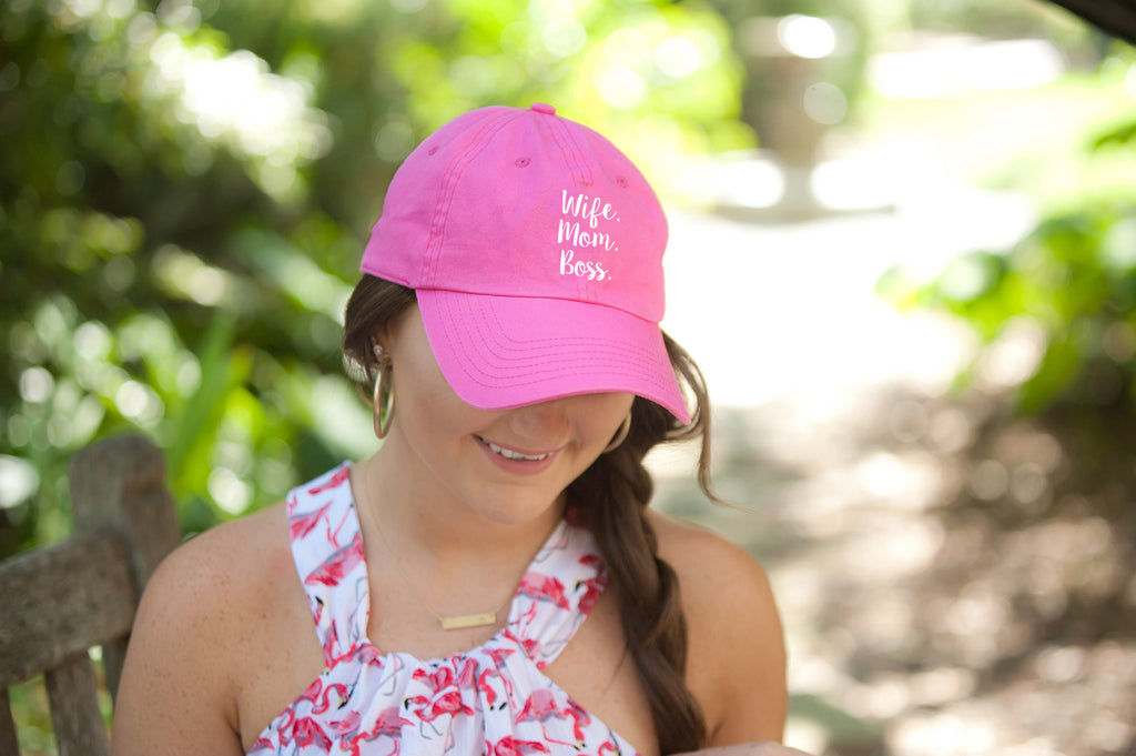 Wife. Mom. Boss. Hot Pink Cap