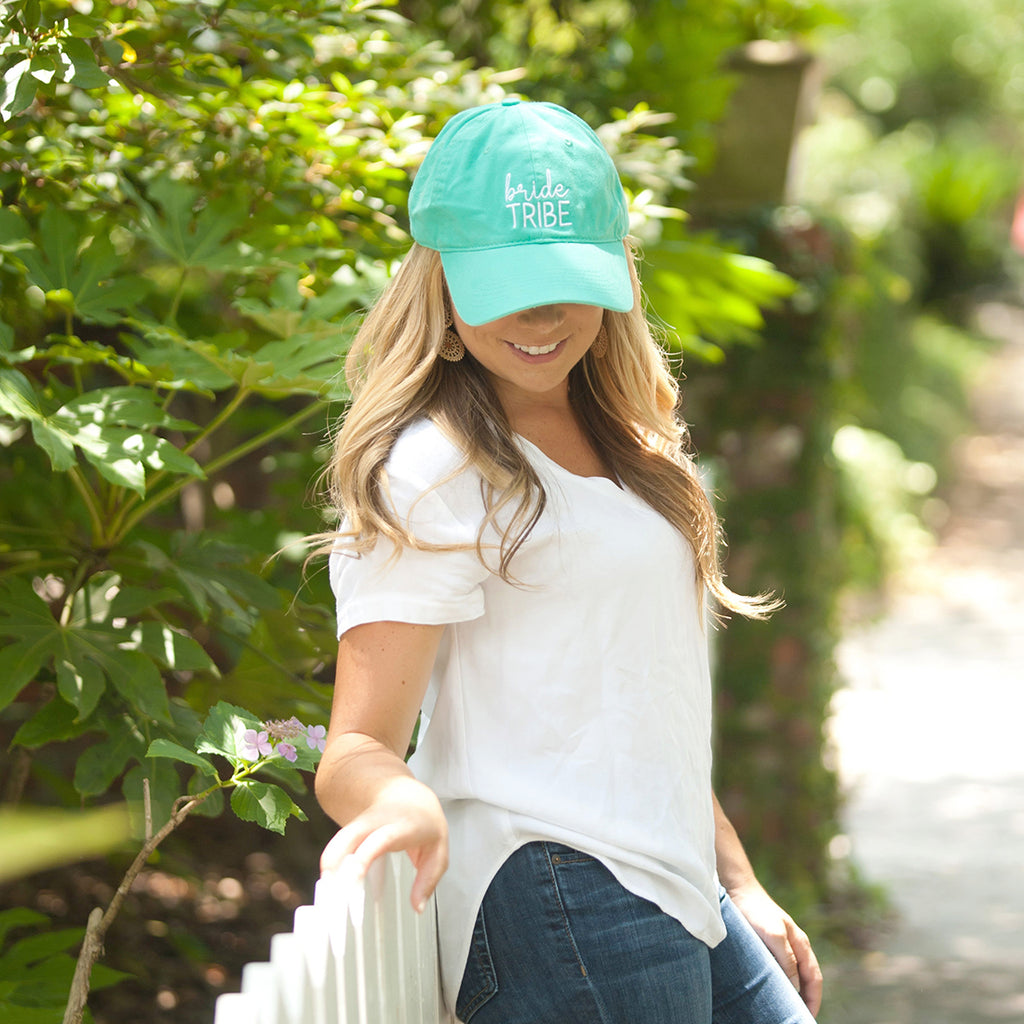 Mint Bride Tribe Cap in White Thread