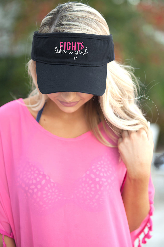 Fight like a Girl Black Visor - Breast Cancer Awareness - Pink Ribbon