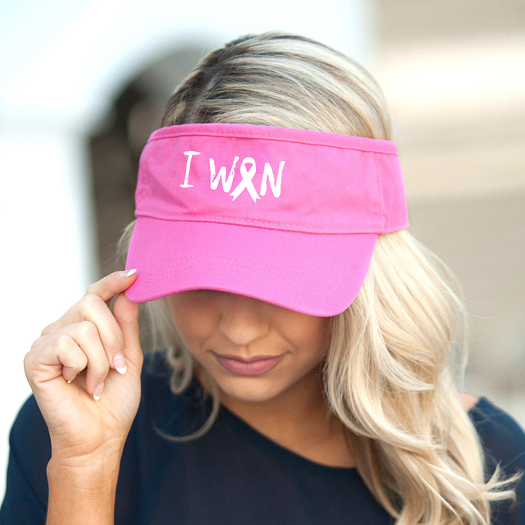 I Won Hot Pink Visor - Breast Cancer Awareness - Pink Ribbon