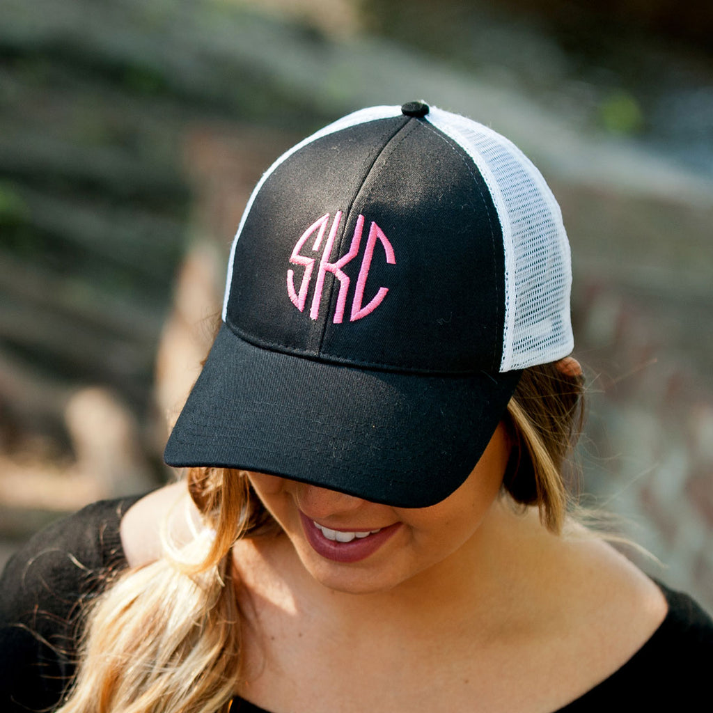 Monogrammed Trucker Hat Baseball Cap - Black