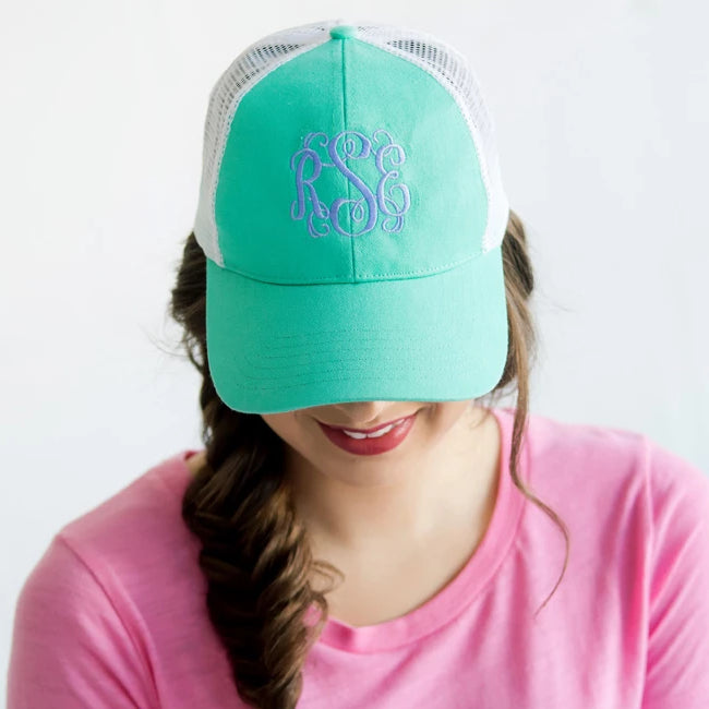 Monogrammed Trucker Hat Baseball Cap - Mint Green