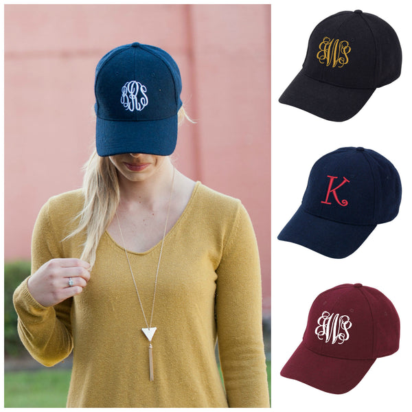 Personalized Wool Cap Monogrammed Baseball Cap - Gifts Happen Here - 1