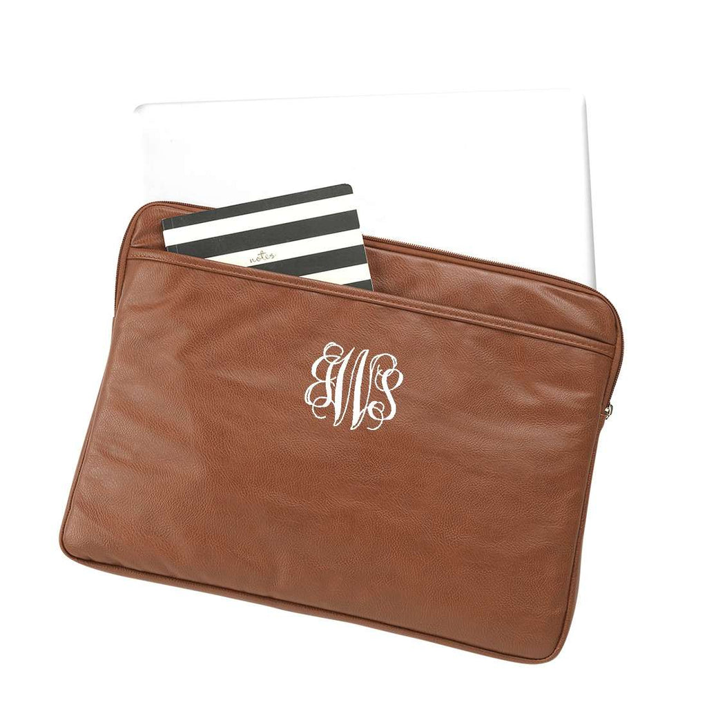 Monogrammed Vegan Leather Laptop Case