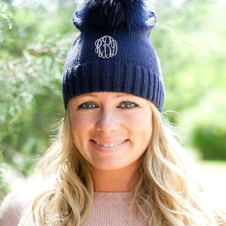 Personalized Hat - Winter Pom Pom Beanie - Navy