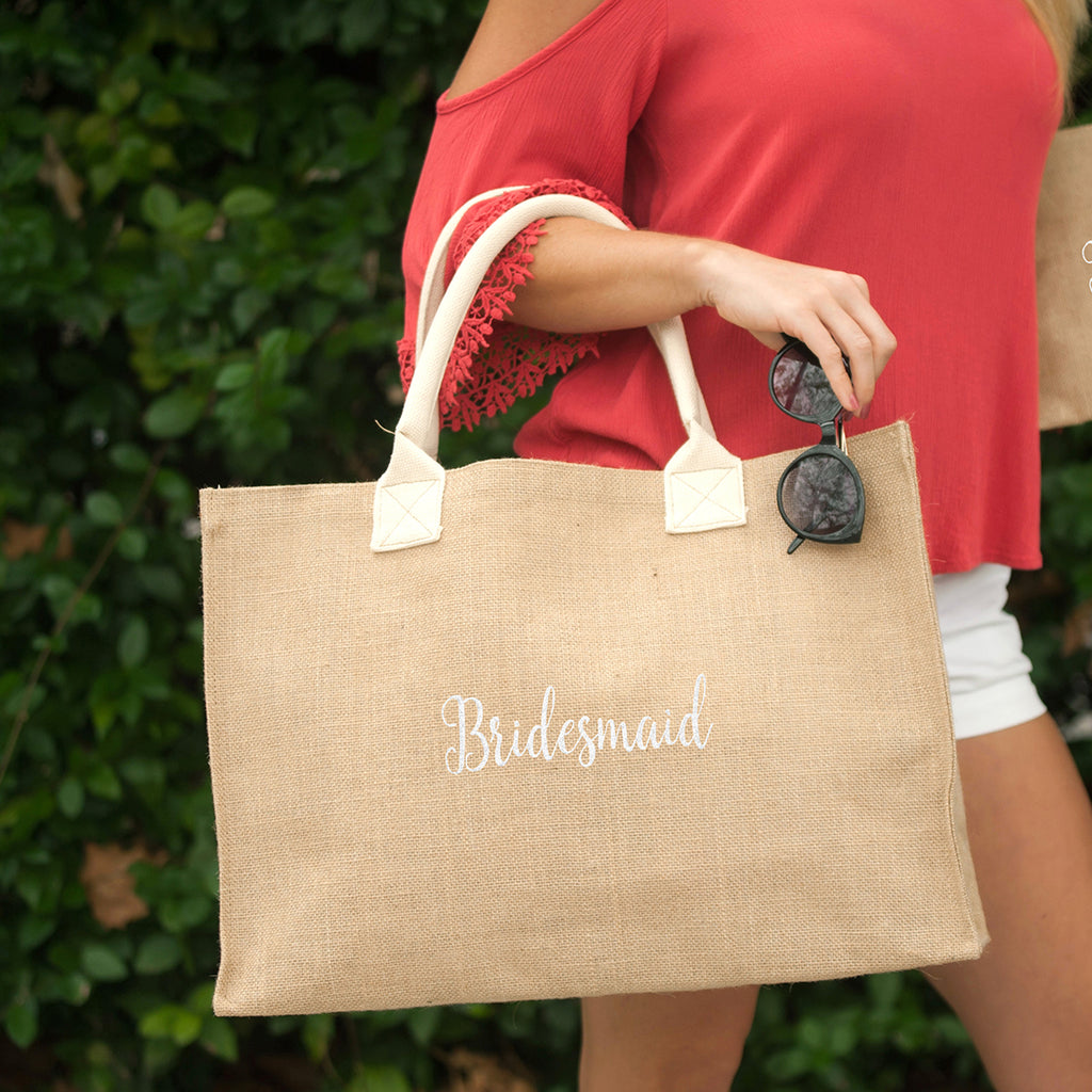Burlap Tote Embroidered BRIDESMAID in White Thread