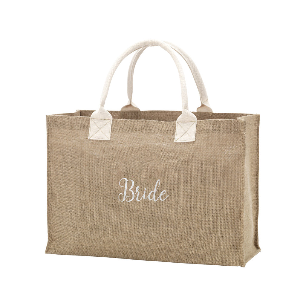 Burlap Tote Embroidered BRIDE in White Thread