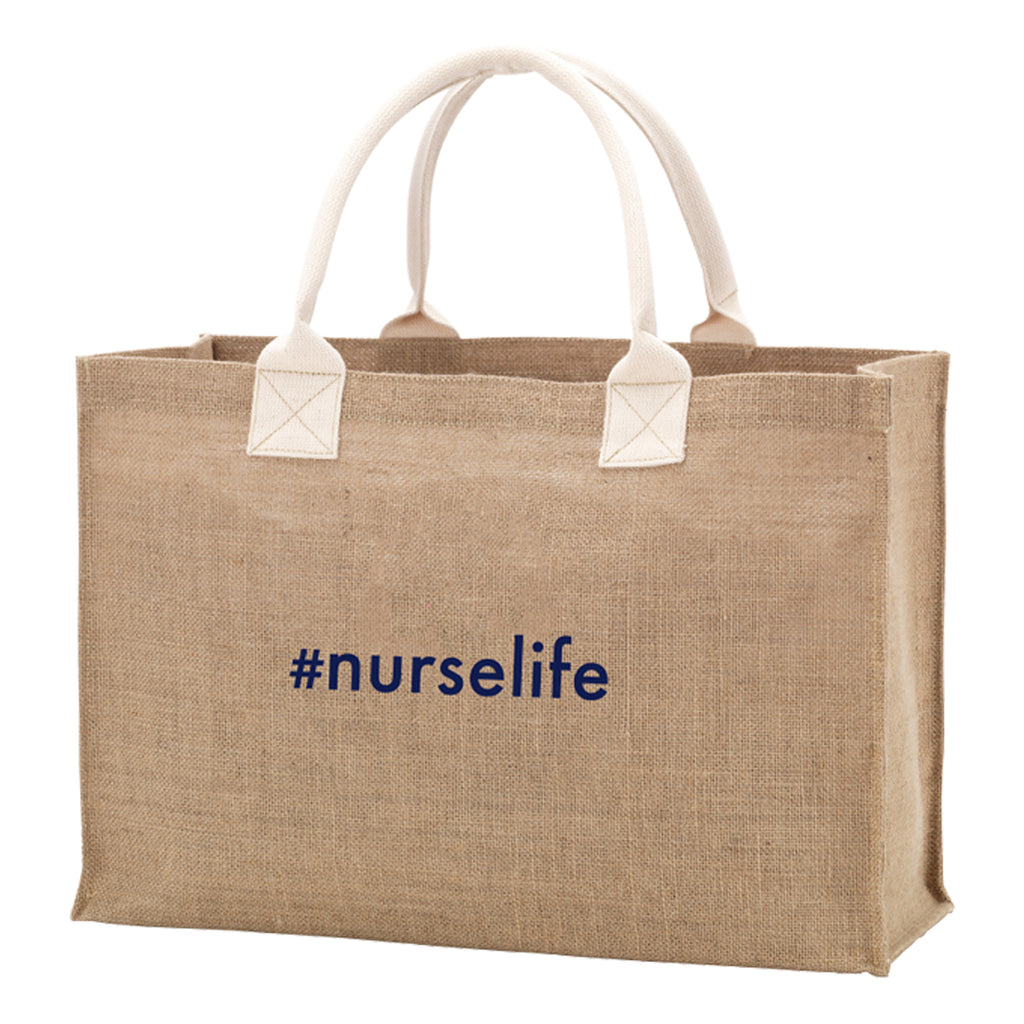 #nurselife Burlap Tote Bag